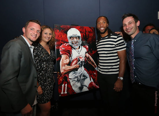 "larry fitzgerald, ""super freak"" 24x36 auto aroc, l.e. 20"