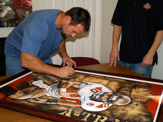 "mike alstott, ""a-train"" 30x45 orig, auto alstott"