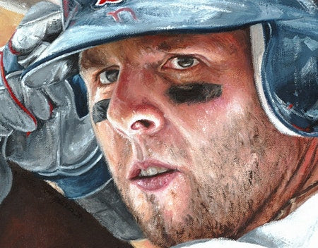 "dustin pedroia, ""determination"" 24x36 auto aroc w/ ""determination"", artist proof, l.e. 5"