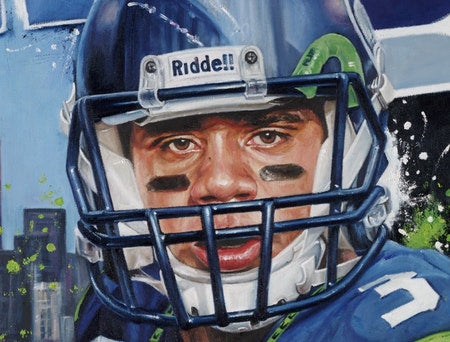 "russell wilson, ""double threat"" 24x36 auto aroc, l.e. 24"