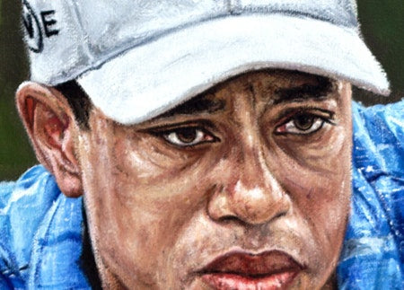 "tiger woods, ""concentration"" 30x45 orig"