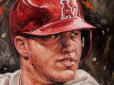 "mike trout, ""catch of the day"" 24x36 auto aroc, artist proof, l.e. 7"