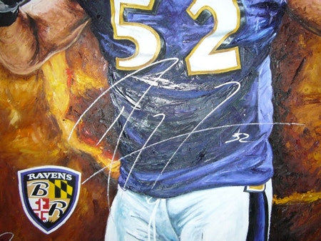 "ray lewis, ""mayhem in the middle"" 24x36 auto aroc, l.e. 24"