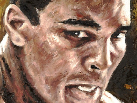 "muhammad ali, ""all or nothing"" 24x36 auto aroc, l.e. 8"