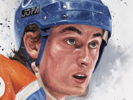 "wayne gretzky, ""immortal on ice"" 24x36 auto aroc, l.e. 23"