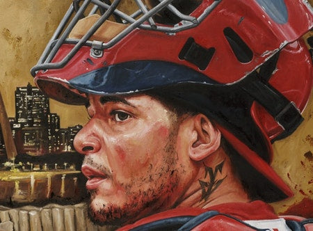 "yadier molina, ""not on my watch"" 24x36 auto aroc, l.e. 30"