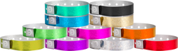 "Plastic 3/4"" x 10"" Holographic Snapped Wristbands"
