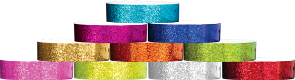 Plastic Sparkle, L-Shape Wristbands in All Colours