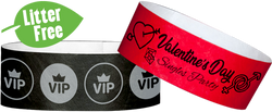 "Custom Litter Free 1"" Tyvek® One Colour Imprint Wristbands"