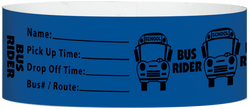 "Tyvek® 1"" x 10"" Bus Rider pattern wristbands"
