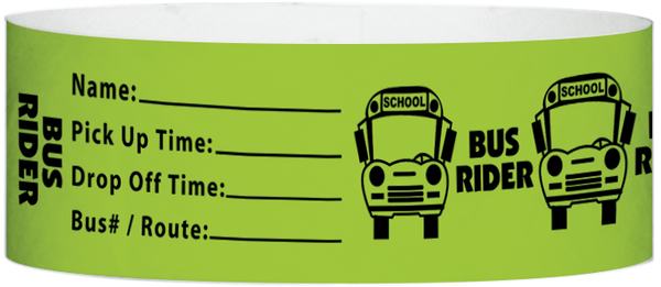 "A Tyvek® 1"" X 10"" Bus Rider Neon Lime wristband"
