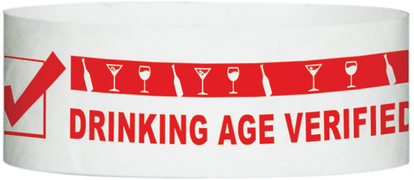 "A Tyvek® 1"" x 10""  Drinking Age Verified Red wristband"