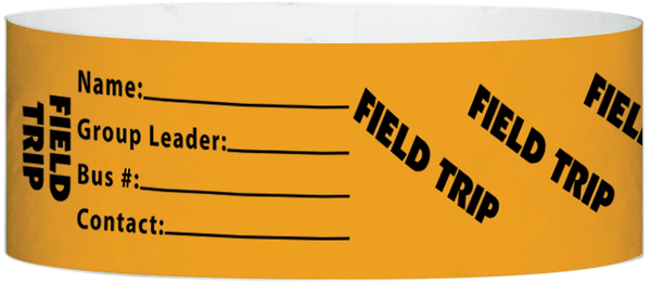 "A Tyvek® 1"" X 10"" Field Trip Neon Orange wristband"