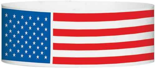 "A Tyvek® 1"" X 10"" Patriotic Flag White Multicolored wristband"
