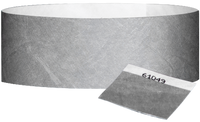 "A 1"" Tyvek® with stub solid Silver wristband"