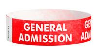 "A Tyvek®  3/4"" x 10"" Sheeted Pattern General Admission Red wristband"