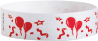 "A Tyvek®  3/4"" x 10"" Sheeted Pattern Balloons Red wristband"