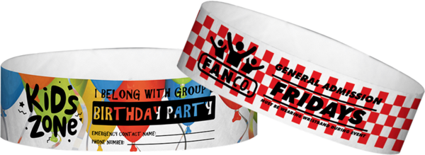 "Custom Tyvek® 3/4"" x 10"" Pattern One Colour Imprint Wristbands"
