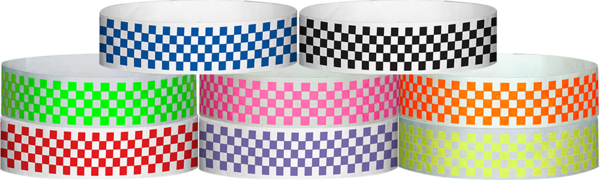 "Tyvek 3/4"" x 10"" Checkboard Wristbands"
