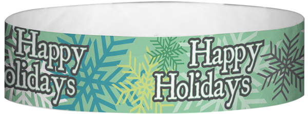 "A Tyvek® 3/4"" X 10"" Happy Holidays Wristband"