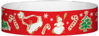 "A Tyvek® 3/4"" X 10"" Seasons Greetings Red wristband"