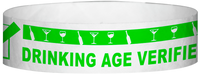 "A Tyvek® 3/4"" X 10"" DAV Drinking Age Verfication Neon Lime wristband"