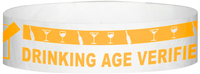 "A Tyvek® 3/4"" X 10"" DAV Drinking Age Verfication Neon Orange wristband"
