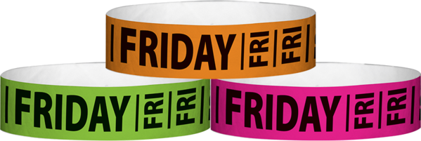 "A Tyvek® 3/4"" X 10"" Friday wristbands"