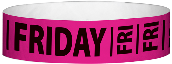 "A Tyvek® 3/4"" X 10"" Friday Neon Pink wristband"
