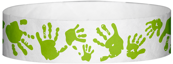 "A Tyvek® 3/4"" X 10"" Hand Prints Neon Lime wristband"