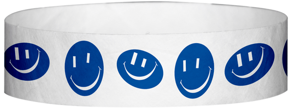 "A Tyvek® 3/4"" X 10"" Happy Face Blue Wristband"