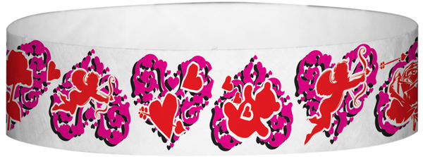 "A Tyvek® 3/4"" X 10"" Hearts Flowers Wristband"