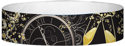 "Tyvek® 3/4"" x 10"" New Years Clock (2019) pattern wristbands"