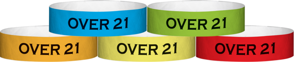 "A Tyvek® 3/4"" X 10"" Over 21 wristband"