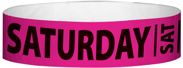"A Tyvek® 3/4"" X 10"" Saturday Neon Pink wristband"