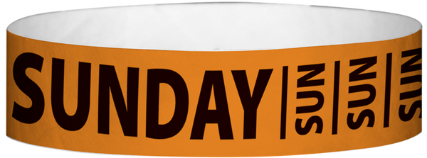 "A Tyvek® 3/4"" X 10"" Sunday Neon Orange Wristband"