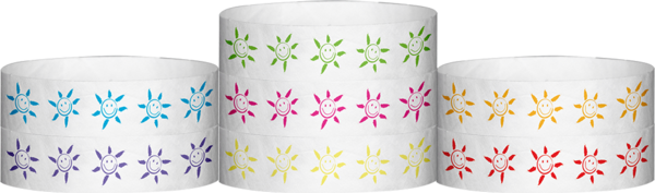 "Tyvek® 3/4"" X 10"" Sun Face wristbands"