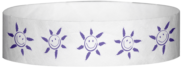 "A Tyvek® 3/4"" X 10"" Sun Face Purple wristband"