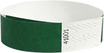 "A 3/4"" Tyvek® litter free solid Green wristband"