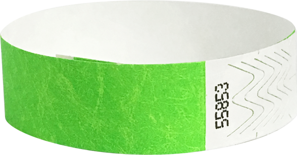 "A 3/4"" Tyvek® litter free solid Neon Lime wristband"