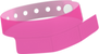 "A Vinyl 1 1/4"" x 9 1/4"" Slim 3-Stub Snapped Solid Edge Glow Neon Pink wristband"