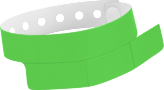 "A Vinyl 1 1/4"" x 9 1/4"" Slim 3-Stub Snapped Solid Neon Green wristband"