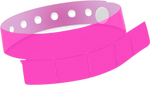 "A Vinyl 1 1/4"" x 9 1/4"" Slim 5-Stub Snapped Solid Edge Glow Neon Pink wristband"