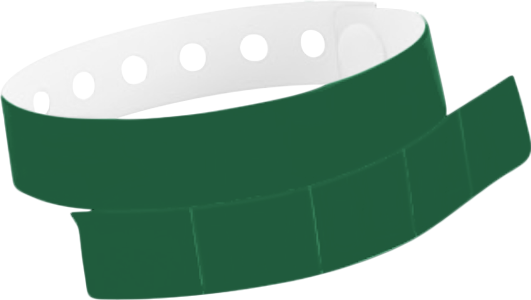 "A Vinyl 1 1/4"" x 9 1/4"" Slim 5-Stub Snapped Solid Forest Green wristband"