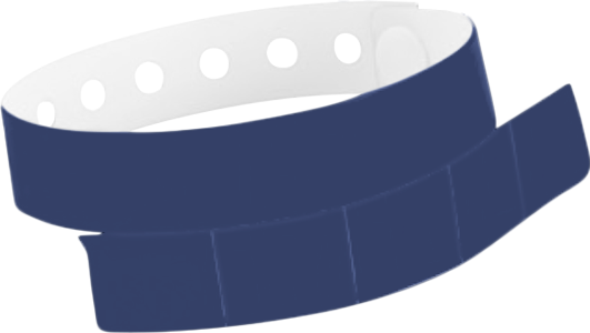"A Vinyl 1 1/4"" x 9 1/4"" Slim 5-Stub Snapped Solid Navy Blue wristband"
