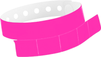 "A Vinyl 1 1/4"" x 9 1/4"" Slim 5-Stub Snapped Solid Neon Pink wristband"