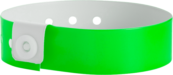 "A Vinyl 3/4"" x 10"" L-Shape Snapped Solid Neon Green wristband"