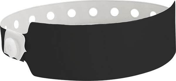 "A Vinyl 1"" x 10"" Wide Face Snapped Solid Black wristband"