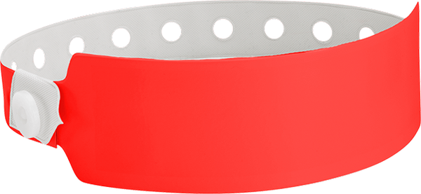"A Vinyl 1"" x 10"" Wide Face Snapped Solid Neon Red wristband"