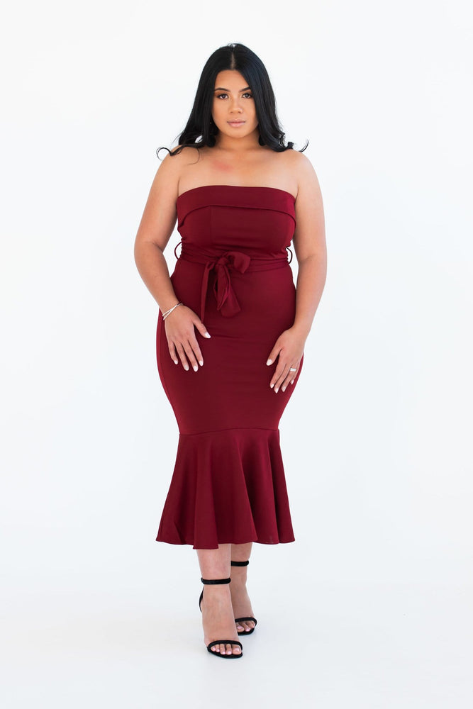 Red wine strapless midi dress